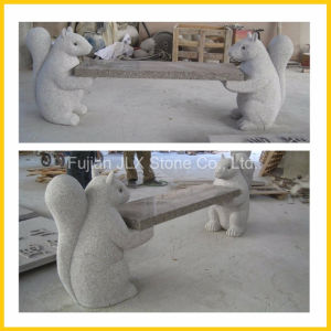 Stone Carving Squirrel Animal Statue Bench