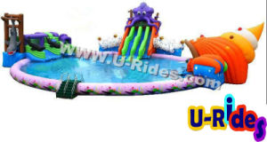 Inflatable Water Park, Inflatable Pool Combined with Inflatable Slide pictures & photos