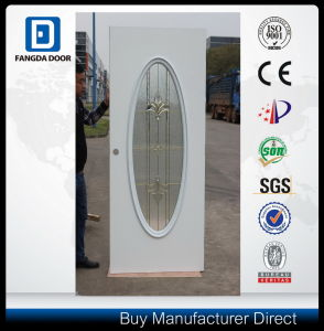 Big Oval Frosted Tempered Glass Exterior Prehung Rust and Corrosion Resistant Steel Door pictures & photos