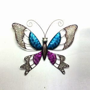 Moulded Metal Bright Color Butterfly Wall Art Decoration