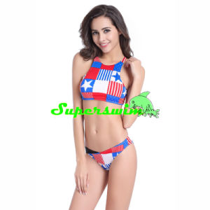 USA National Flags Printed Tankini for Lady