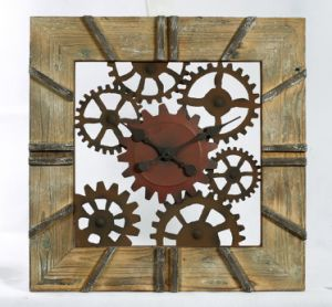 Antique Wooden and Metal Wall Clock