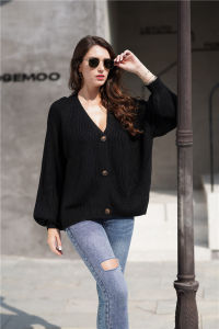 Wholesale Women′s Long Sleeve Button Down Crew Neck Classic Sweater Knit Cardigan