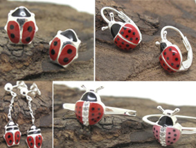 Ladybug Earrings Rings Sterling Silver Jewelry With Resin And Cubic Zircon For Kid Children
