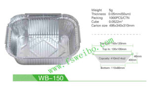 Disposable Aluminum Foil Box Aluminum Food Tray with Cover Wb-150
