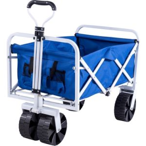 Collapsible Garden Cart Folding Utility Wagon With Large Wheel, Blue