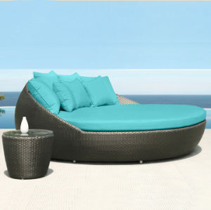Round Top Popular Garden Furniture Wicker Day Bed / Big Lounge Outdoor Plastic Day Bed Rattan Beach Lounge Chair T561 pictures & photos