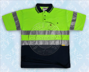 Yellow Reflective Tape Safety Contrast Polo Shirt pictures & photos