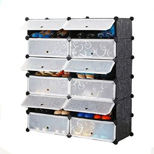 Multi Use DIY Plastic 12 Cube Shoe Rack, Organizer, Bookcase, Shoes Cabinet  Black