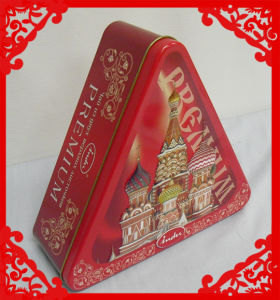 triangular new year cookies package tin box