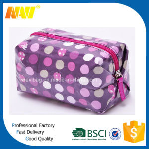 Laminated Canvas Cosmetic Makeup Toiletry Bag with DOT Printing