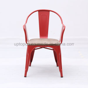 Red Metal Restaurant Chair With Wooden Seat (SP MC093)