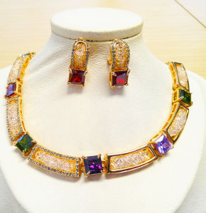 Costume Jewellery Gold Plated Jewellery Set Necklace And Earrings Zircon Jewellery & Watches