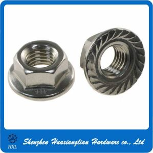 Self Locking Nut >> Stainless Steel Hex Flange Serrated Self Locking Nut