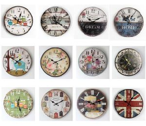2016 Hot-Sale Antique Decorative Round Colorful Wood Wall Clock pictures & photos
