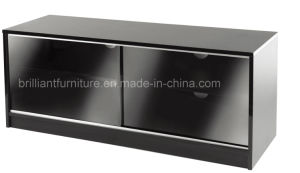 China Meliamine Double Sliding Glass Door Lcd Furniture Tv Stand Br