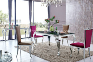 2016 Modern Stainless Steel Glass Dining Furniture (SJ813) pictures & photos