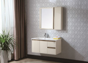 Elegant Sanitary Ware Solid Wood Bathroom Cabinet with Painted Technique