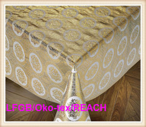 Lace PVC Golden Tablecloth Overlay for Wedding Table on Roll Hot Sale pictures & photos