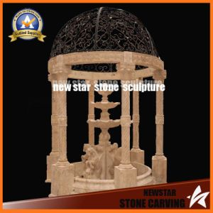 Garden Decoration Stone Carving with Fountains Gazebo, Pavilion with Steel Roof pictures & photos