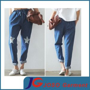 Casual Laides Slacks Jean Women′s Clothes (JC1384) pictures & photos