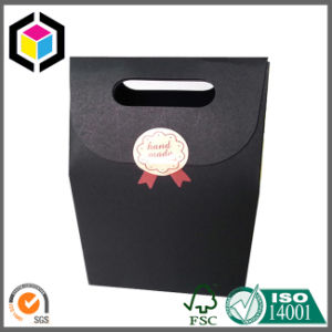 Gable Top Black Paper Gift Packing Bag with Magic Tape Close