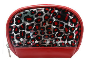 Leopard with Red Patent PU Cosmetic Bag (KCC179)