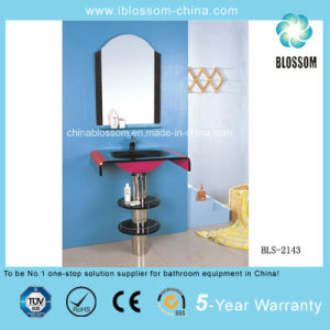 Floor-Mounted Bathroom Glass Basin Vanity (BLS-2143) pictures & photos