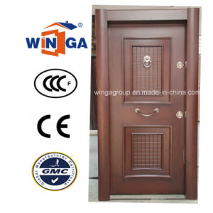 Turkey Luxury Security Steel MDF Wood Veneer Armored Door (W-T33) pictures & photos