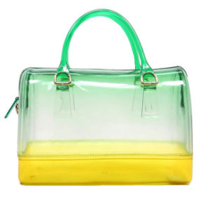 Mixed-Color Ladies Clear Handbags, Double Handle Jelly Handbags