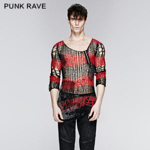 Gothic Best Fashion Design Mens Sexy Sweater (M-001BK-RD)