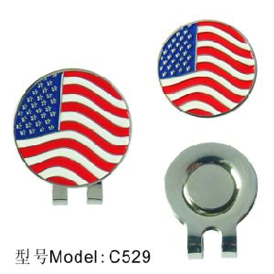 Golf Hat Clip with Flag Logo