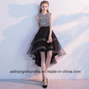 China Black High Low Sequined Pearls With Rhinestones Prom Dress
