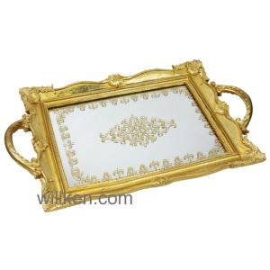 Resin Mirror Decorative Tray Modern Handles