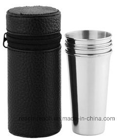 Stainless Steel Cup Set Match Hip Flask (R-HF052) pictures & photos