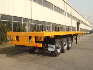 Cimc 40′ Flatbed Semitrailer with Single Tire Truck Chassis pictures & photos