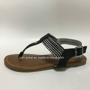 Black Women Sandals with PU Upper Lady Casual Shoes with Competitive Prices