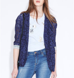 Spring Lace Elegant Jacquard Button Ladies Thin Jacket pictures & photos
