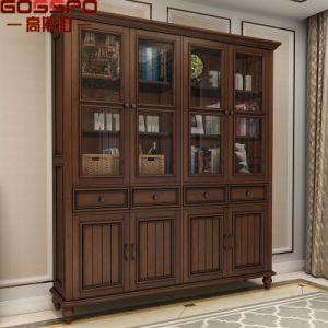 European Style Furniture Solid Teak Wood Bookcase (GSP18-001) pictures & photos