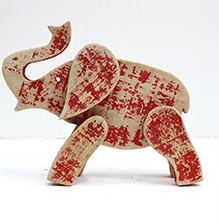 Small Red Elephant Design Driftwood Art Crafts for Home Decor pictures & photos