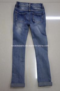 Distressed Skinny Jeans for Girls (LPG08) pictures & photos