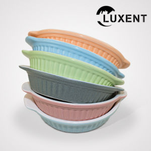 China New Arrival Ceramic Coffee Shop Color Oval Baking Trays