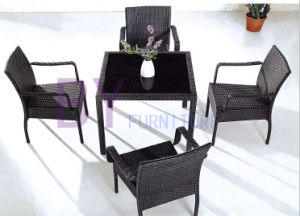 Living Room PE Rattan Furniture with Black Silk Glass Table