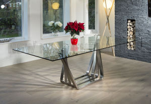 Kitchen Furniture Tempered Glass Dinner Table Stainless Steel Dining Table  Set (NK DTB001)