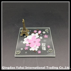 4mm Square Glass Coaster with Screen Printing Pattern pictures & photos