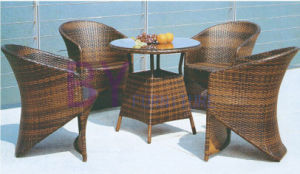 5 PCS Simple Brown PE Rattan Furniture with Round Table
