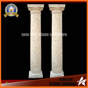 Marble Stone Hand Carved Beige Roman Column (NS-11C14) pictures & photos