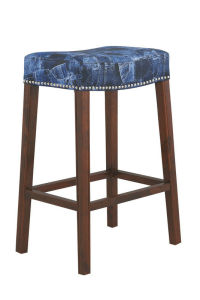 Fabric Bar Stool with Wood Frame