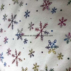 Colorful Hot Stamping Polar Fleece with Snowflake pictures & photos
