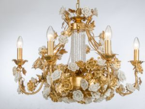 Hotel Luxury Ceramic Floral Golden Foiled Traditional Chandelier with Crystal